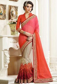Brilliant Beige and Coral Red Saree