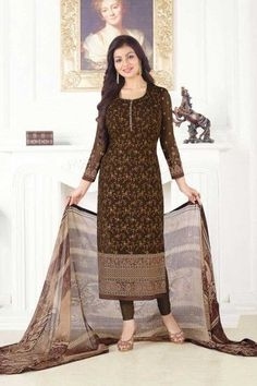 Georgette Churidar Suit With Printed Dupatta In Coffee Color - DMV15145