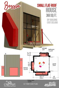 tiny house plans with flat roof Flat Roof House, Tiny House Loft, Tiny Houses, Micro House Plans, House Floor Plans, Diy Hanging Shelves, Diy Wall Shelves, Building Costs, Diy Home Decor Projects
