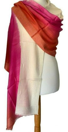 Large hand dyed Fair Trade pashmina wrap / scarf in cream, orange and pink with a silver coloured fine thread woven through on the border at the Bridal Hijab, Prom Accessories, Cat Scarf, Pashmina Wrap, Cerise Pink, Burnt Orange, Fair Trade, Scarf Wrap, Clown Crafts