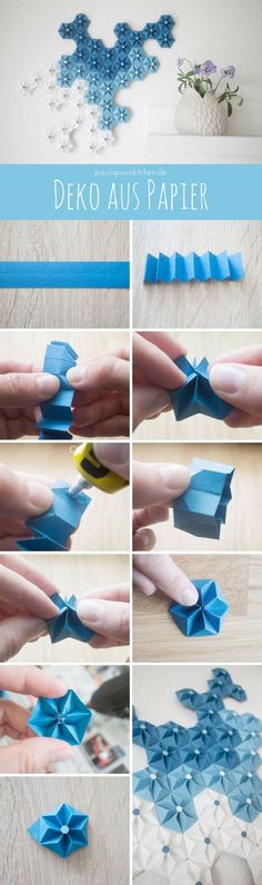 Crafting instructions: paper decoration - origami flower- Bastelanleitung: Deko aus Papier – Origami Blume Sweet decoration made of paper - Diy Origami Blume, Origami And Kirigami, Origami Paper Art, Diy Paper, Paper Crafting, Oragami, Origami Wall Art, Instruções Origami, Origami Butterfly