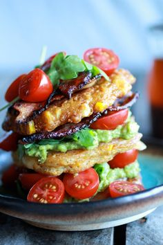 Avocado and Gouda BLT Corn Fritter Stacks with Chipotle Bourbon Dressing
