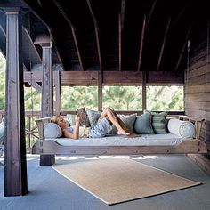 I grew up with a front porch swing. I would love to end up having a front porch bed swing. Hanging Porch Bed, Porch Swings, Hanging Beds, Bed Swings, Outdoor Swings, Hammock Bed, Diy Hanging, Outdoor Spaces, Outdoor Living