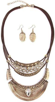 Riah Fashion Vintage-Aztec-Necklace & Earring-Set