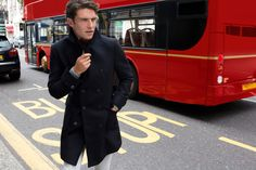Fay City Diaries features the Men's Fall - Winter 2013/14 collection with the charming backdrop of London. Double-breasted Coat. http://www.fay.com/it/city-diaries/londra
