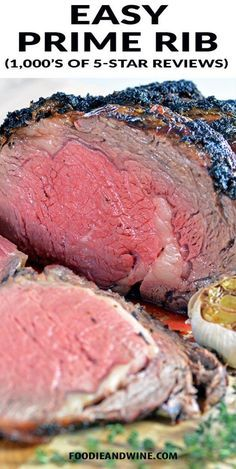 Easy Garlic and Herb Prime Rib Recipe! Easy for beginners to master! This Prime Rib Recipe is loaded with garlic, herbs and flavor. Finish it off with Au Jus for an unforgettable Easy Prime Rib Roast Recipe, Ribs Recipe Oven, Prime Rib Oven Roast, Best Prime Rib Recipe Ever, Garlic Prime Rib Recipe, Slow Cooker Prime Rib, Prime Rib Dinner, Beef Rib Roast, Carne Asada