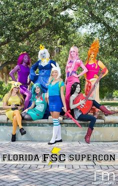 Lump Space Princess, Ice Queen, Princess Bubblegum, Flame Princess, Jake, Bemo, Fiona and Marceline from Adventure Time