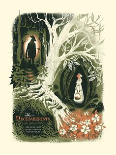 Gig poster for The Decemberists - illustration by Chris Turnham Art And Illustration, Illustrations And Posters, Halloween Illustration, Portrait Illustration, Fashion Illustrations, Book Cover Art, Book Cover Design, Book Art, Book Covers