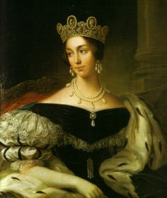 Portrait of Queen Josephine of Sweden and Norway - Josephine Bonaparte's granddaughter wearing her Cameo Crown, which is now part of the royal jewels of Sweden.