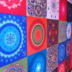 adesivos de tecido azulejo hidráulico e mandalas
