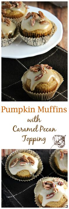 Pumpkin Muffins with Homemade Caramel Pecan Topping - a delicious recipe with ju. Pumpkin Muffins with Homemade Caramel Pecan Topping – a delicious recipe with just the right amou Easy Desserts, Delicious Desserts, Dessert Recipes, Yummy Food, Delicious Dishes, Pumpkin Recipes, Fall Recipes, Caramel Pecan, Fall Baking