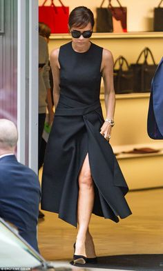Best foot forward: Victoria, 41, appeared to have ditched her Audrey Hepburn-inspired side...