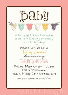 baby girl shower invitations with banner of by katiearichards, $13.00 Super cute