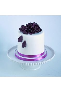 Birthday cake with purple flowers