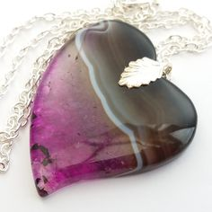 Purple Agate Heart Necklace, Banded Agate Heart, Purple Heart, Agate Necklace…
