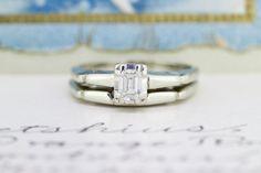 Mid Century Engagement Ring | Emerald Cut Diamond Wedding Set | 14k White Gold Wedding Band | Classic 1950s Engagement Ring | Size 6