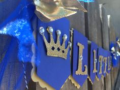 Little Prince royal flag banner in royal blue gold by glittermama, $25.95