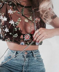 floral sheer blouse with a maroon bralette with high rise jeans Visit Daily Dress Me at for more inspiration womens fashion 2018 fall fashion summer fashion spring fashio. Mode Outfits, Trendy Outfits, Fashion Outfits, Womens Fashion, Fashion Trends, Hipster Outfits, Modest Fashion, Fashion Tips, Fashion Killa