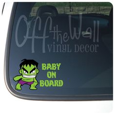Incredible Hulk BABY ON BOARD Vinyl by OffTheWallVinylDecor, $4.99