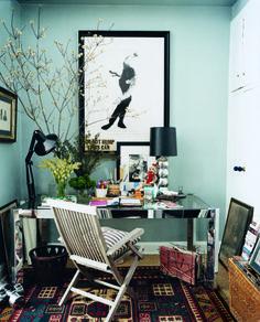 The Gentleman's Guide to Graceful Living | light blue walls & black frames