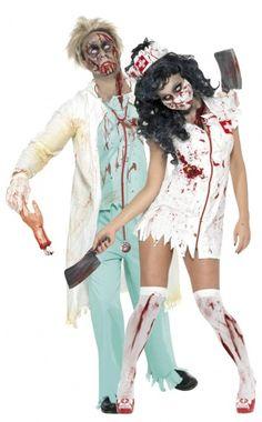 Disfraz de pareja de enfermera y médico zombies ideal para Halloween
