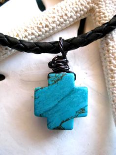 """Black Braided Leather Necklace with Turquoise Cross """"FREE SHIPPING""""   by LeatherDiva, $26.00"""