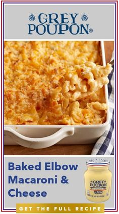Elevate your at-home comfort food recipe with our delicious Baked Elbow Macaroni Cheese recipe. A delicious combination of melty cheese and noodles with a refined dash of Grey Poupon. Macaroni Cheese Recipes, Pasta Recipes, Great Recipes, Dinner Recipes, Cooking Recipes, Favorite Recipes, Healthy Recipes, Baked Macaroni, Pasta Dishes