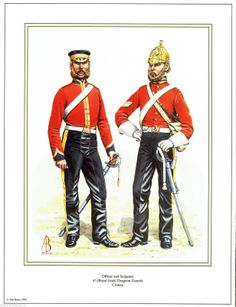 British signed Military Print 4th Royal Irish Dragoon Guards Crimea |