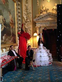 Red Stilt Walker & Champagne Dress from Pastiche #AsianWeddings