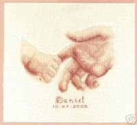 Tenderness - cross stitch kit by Vervaco - A pretty birth sampler with a child holding his father's finger, personalised with baby's name and date of birth. Cross Stitch Baby, Cross Stitch Kits, Cross Stitch Patterns, Cross Stitching, Cross Stitch Embroidery, Birth Records, Baby Hands, Yarn Projects, Baby Design