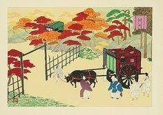 The  Tale of Genji.  Men dressed in heian robes leading ox carts.