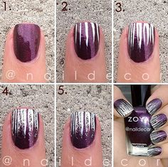 Easy Stripes with Glitter Nail Art. This is such a easy and fun mani! Must try.
