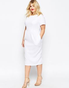 Image 4 of ASOS CURVE Midi Wiggle Dress in Texture