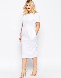 Image 4 ofASOS CURVE Midi Wiggle Dress in Texture