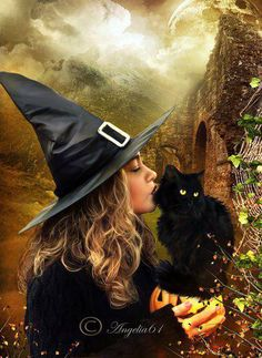 A witch and her cat . . . This would be cool framed for Halloween.