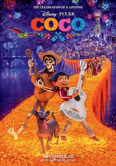 Directed by Lee Unkrich, Adrian Molina.  With Anthony Gonzalez, Gael García Bernal, Benjamin Bratt, Alanna Ubach. Aspiring musician Miguel, confronted with his family's ancestral ban on music, enters the Land of the Dead to work out the mystery.