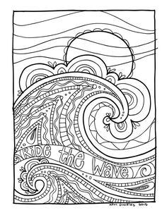 Kpm doodles coloring page wave adult coloring books графика Ocean Coloring Pages, Pattern Coloring Pages, Animal Coloring Pages, Coloring Book Pages, Coloring Pages For Kids, Coloring Sheets, Mandala Art, Wave Drawing, Doodle Coloring
