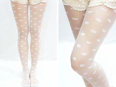 White Polka Dots Printed Tights
