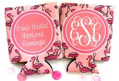 Pink Flamingo Party favors, Flamingle party koozies. Bachelorette party flamingo koozies. #flamingle