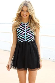 Black Mini Dress with Pastel Print Top and Tulle Overlay