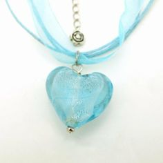 Glazed Heart Pendant Ribbon Necklace - Blue Wrapables. $14.95