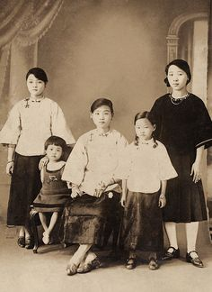 +~+~ Vintage Photograph ~+~+ Wonderful portrait of young girls who were all cousins.  Taken in Taiwan in 1927