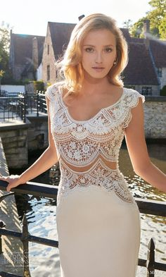 solo merav wedding dress 2016 sophisticated bridal gown cap sleeve crochet bodice sexy illusion back marian close up bodice scalloped
