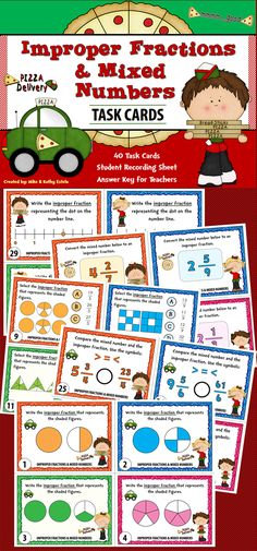 There are forty (40) task cards in this set that you can use to discuss/review the topic of Improper Fractions and Mixed Numbers.