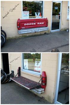 Wall mounted tailgate bench. So freakin cool. I just imagined a bar with a whole bunch of these.