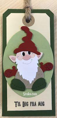 """Her er et til og fra kort med nisse (Gnomes) dien fra """"by Lene"""" Jeg har lavet 3-4 stykker af alle de til og fra kort jeg har lavet :)"""