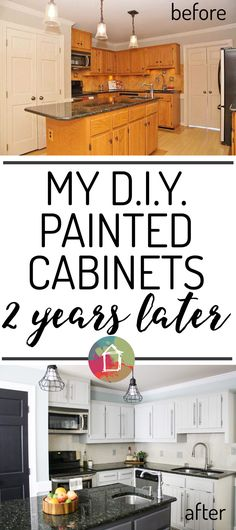 SO INTERESTING! This blogger tackled DIY painted kitchen cabinets without priming or sanding and she shares details on how they are holding up nearly 2 years later. Such great information! / www.designertrapped.com