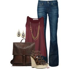 Burgundy & brown  by fluffof5 on Polyvore
