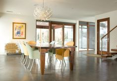 wood trim, grey concrete floors, modern