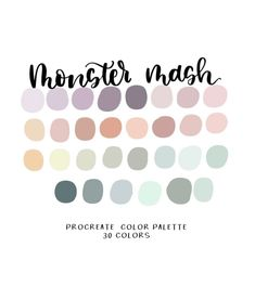 MONSTER MASH COLOR PALETTE FOR PROCREATE Procreate color palettes are a perfect way to keep cohesive colors organized right at your finger tips while using the procreate app. This is a handpicked… Pastel Colour Palette, Colour Pallette, Muted Colors, Colour Schemes, Color Combos, Palette Art, Paint Color Palettes, Monster Mash, Color Palette Challenge